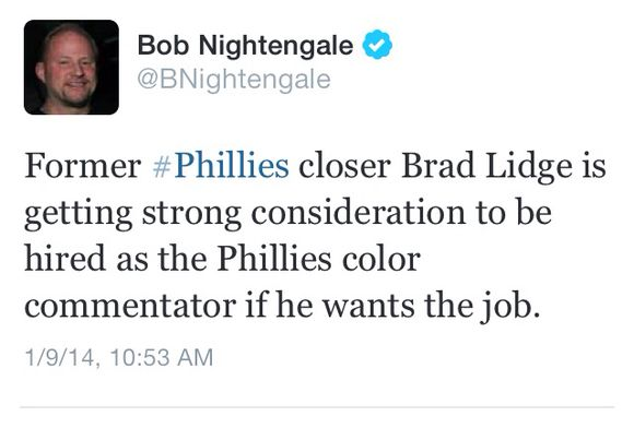 "Report: Brad Lidge Getting ""Strong"" Consideration For Broadcast Team"
