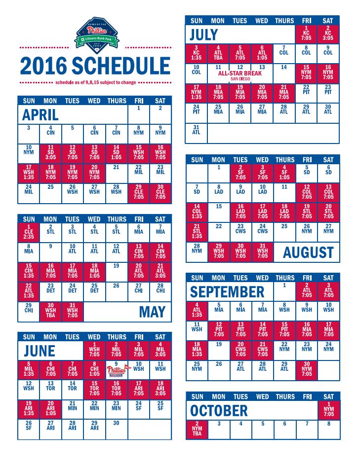 Phillies schedule