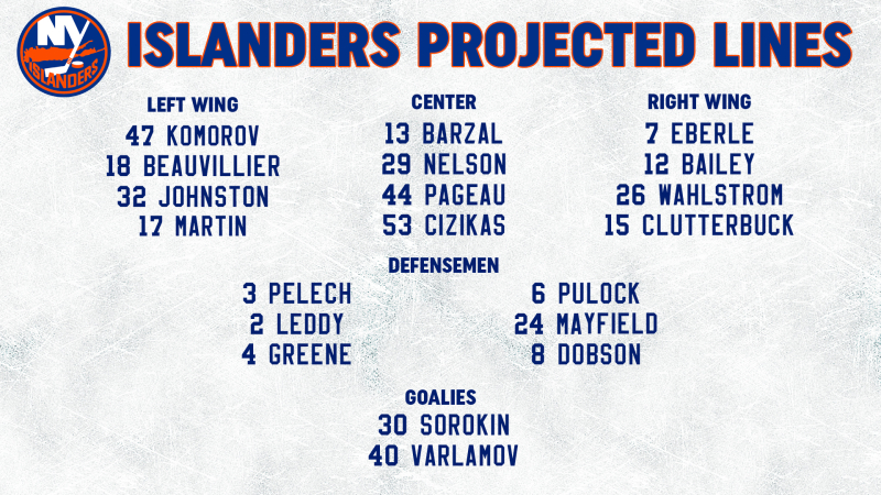 Opponent Line Combos 4-3 Updated
